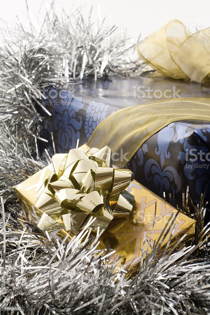 blue and gold christmas gifts royalty-free stock photo