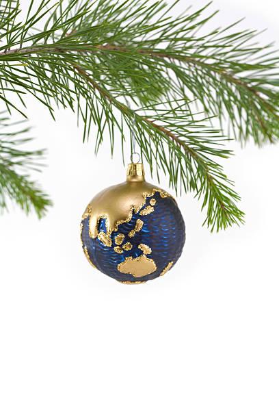 Blue und Gold Globe Christbaumkugel mit Asien-Pazifik-Region – Foto