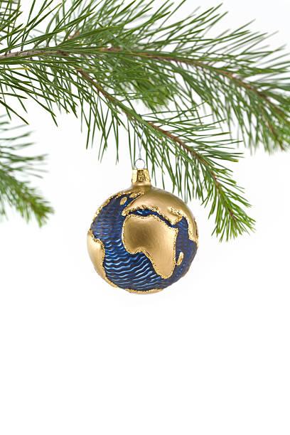 Blue und Gold Globe Christbaumkugel mit Europa und Afrika – Foto