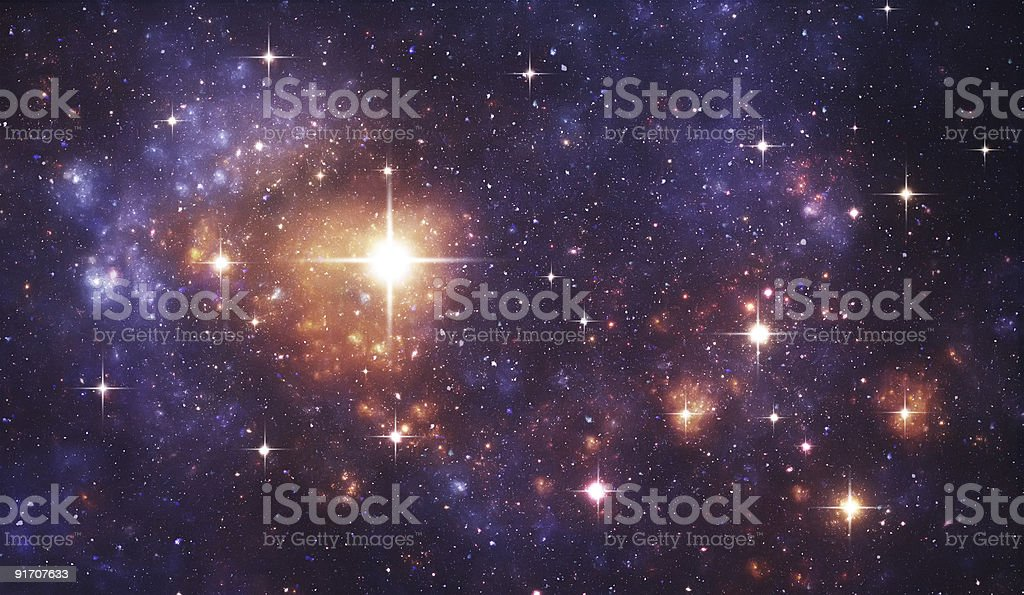 Blue and gold space galaxy stock photo
