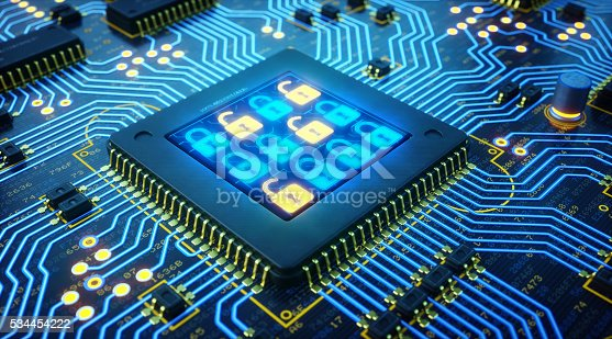 901627692istockphoto Blue and Golden Circuit Board With A Grid Of Locks 534454222