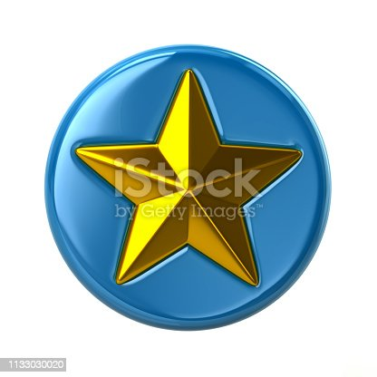 1140293905 istock photo Blue and golden star button 1133030020