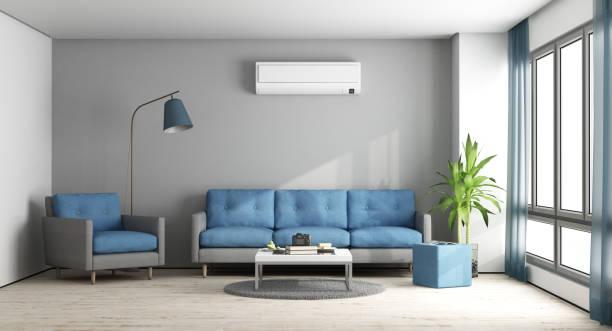 ブルーとグレーのモダンなラウンジ - エアコン ストックフォトと画像