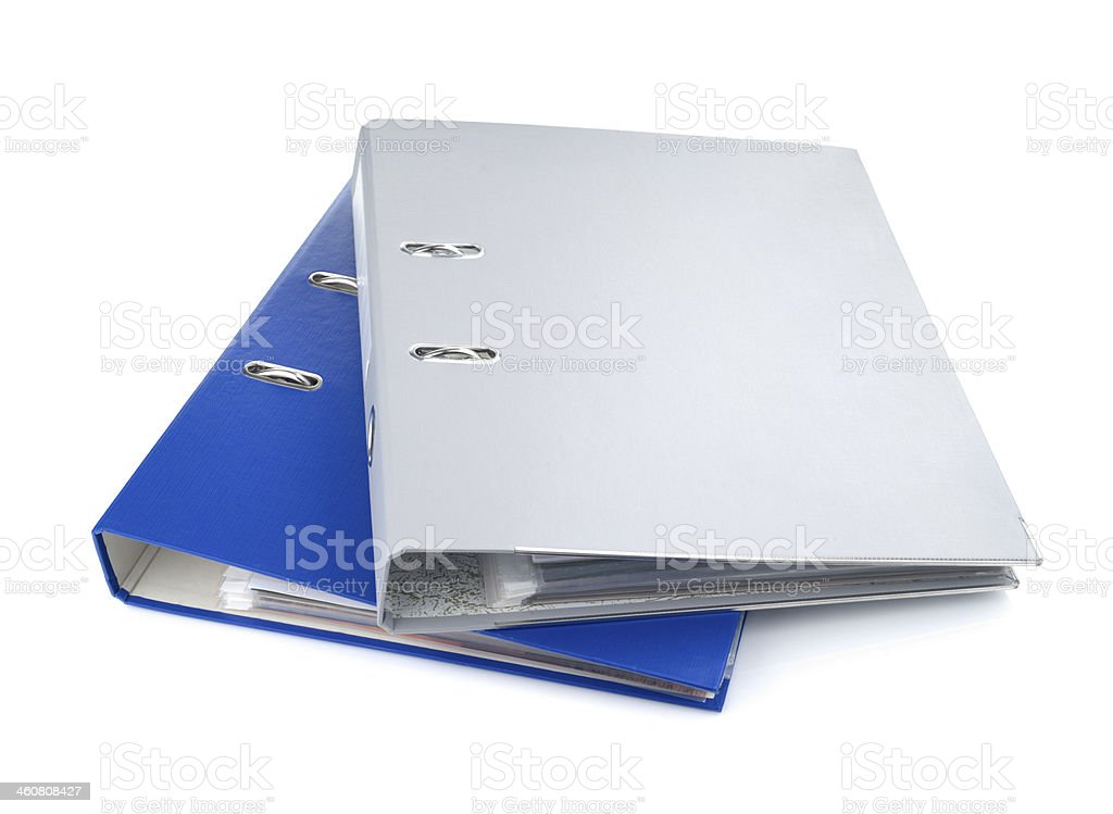 Blue and gray office folders, isolated on white background stock photo