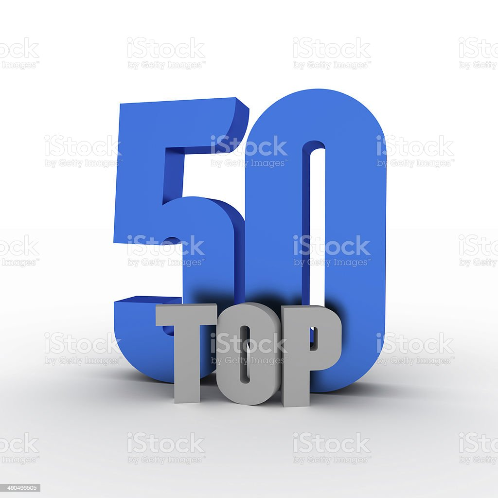 Blue and gray word art of top 50 stock photo