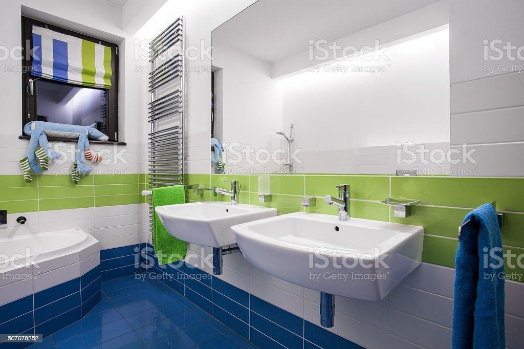 Photo libre de droit de Bleu Et Vert Salle De Bains banque d\'images ...