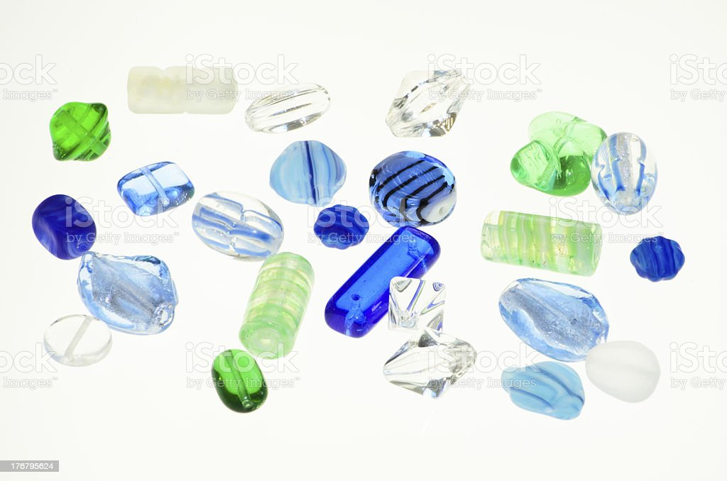 Blue and Green Beads royalty-free stock photo