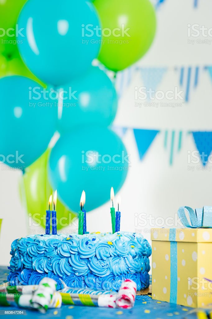 Blue and green birthday decoration stock photo