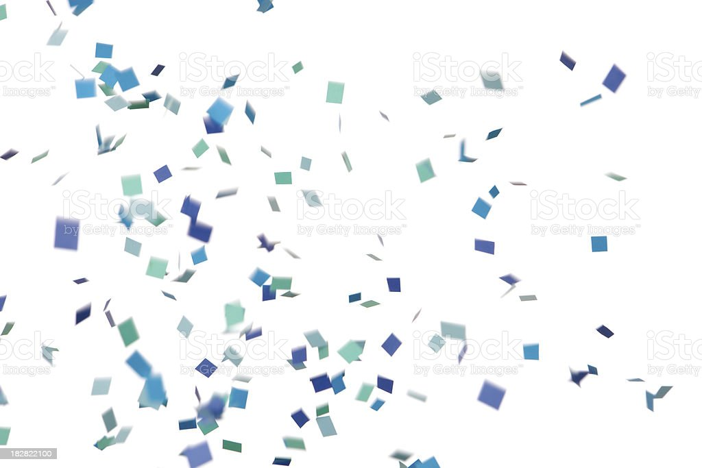 Blue and Green Confetti Falling, Isolated on White stock photo