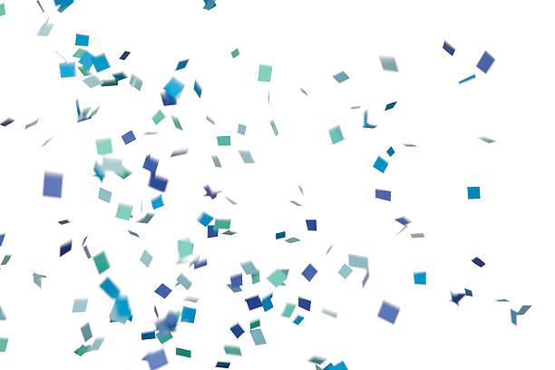 blue and green confetti falling, isolated on white - confetti stok fotoğraflar ve resimler