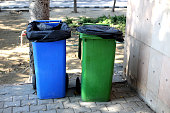 istock Blue and Green Garbage collecting bins 1125015281