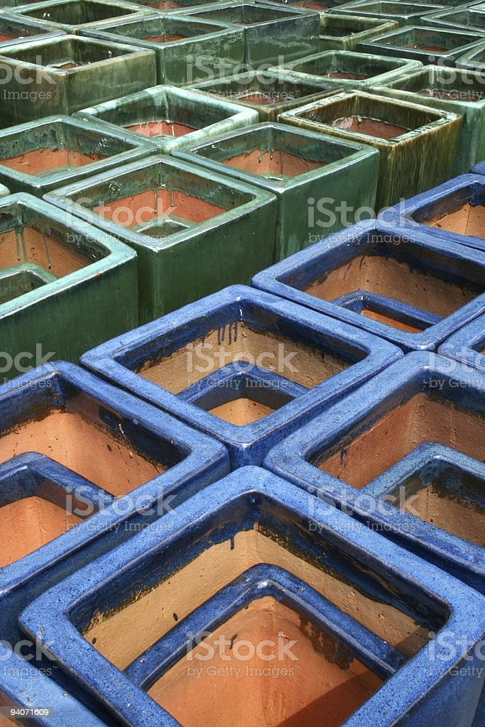 Blue and Green Glazed Terra Cotta Planters royalty-free stock photo