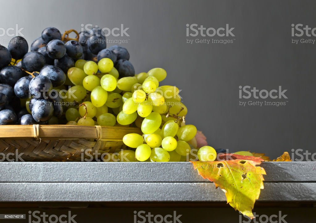 Blue and green grapes . stock photo