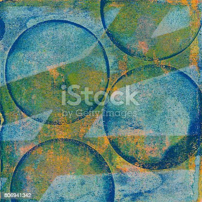 istock Blue and green handmade retro circle background 806941342