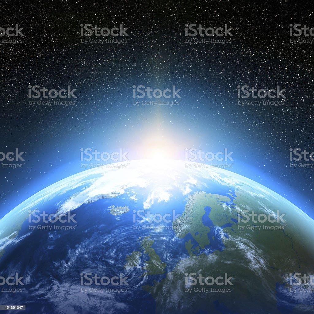 Blue and green image of earth from space Creative abstract global communication scientific concept: space view of sunrise above Earth planet globe with world map in Solar System of Universe Astrology Stock Photo