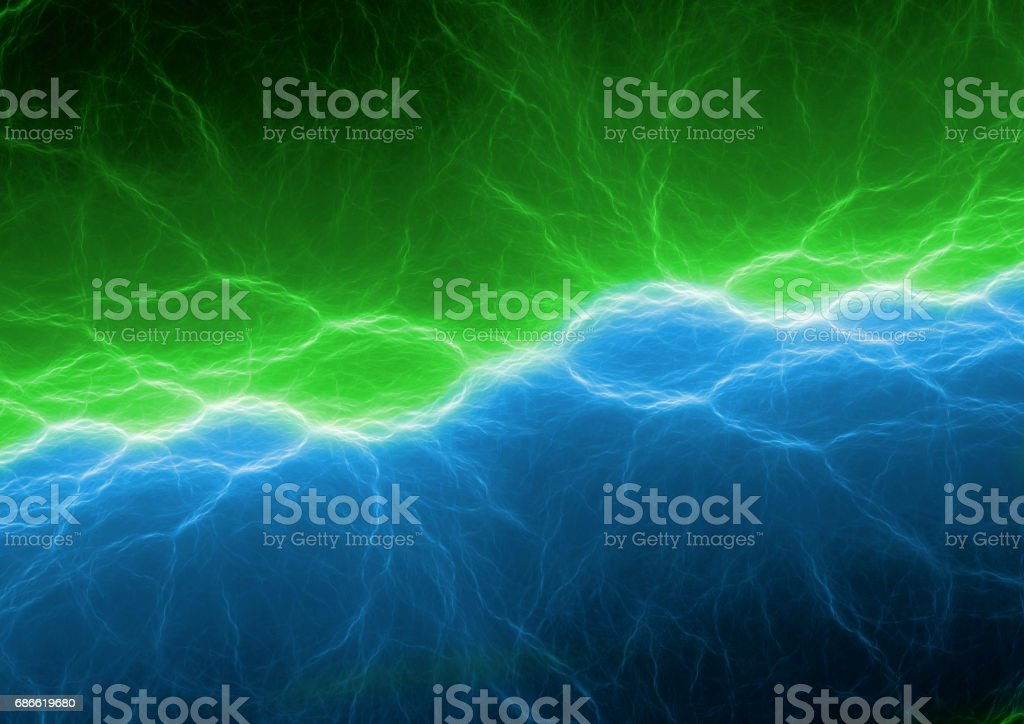 Blue and green lightning, abstract electric background royalty-free stock photo