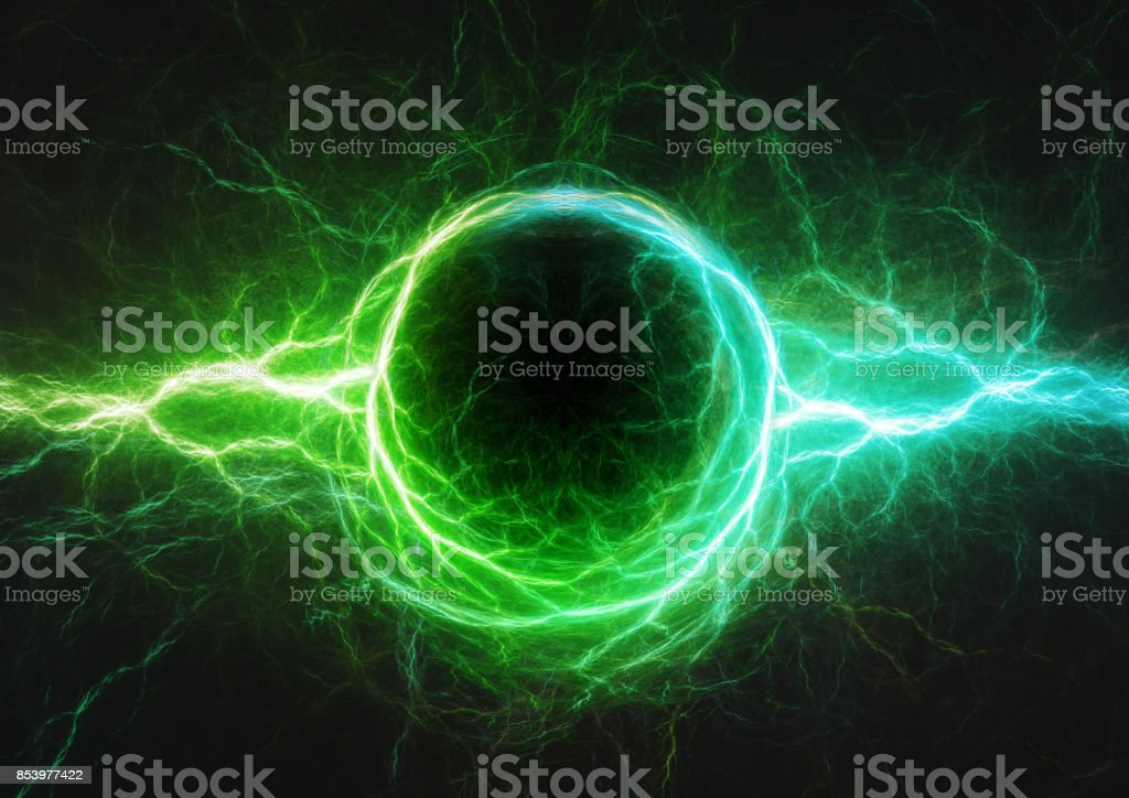 Blue and green lightning, plasma and electric power stock photo