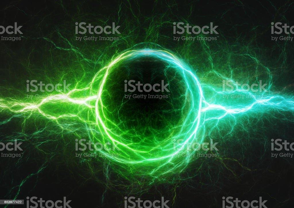 Relámpago azul y verde, plasma y energía eléctrica - foto de stock