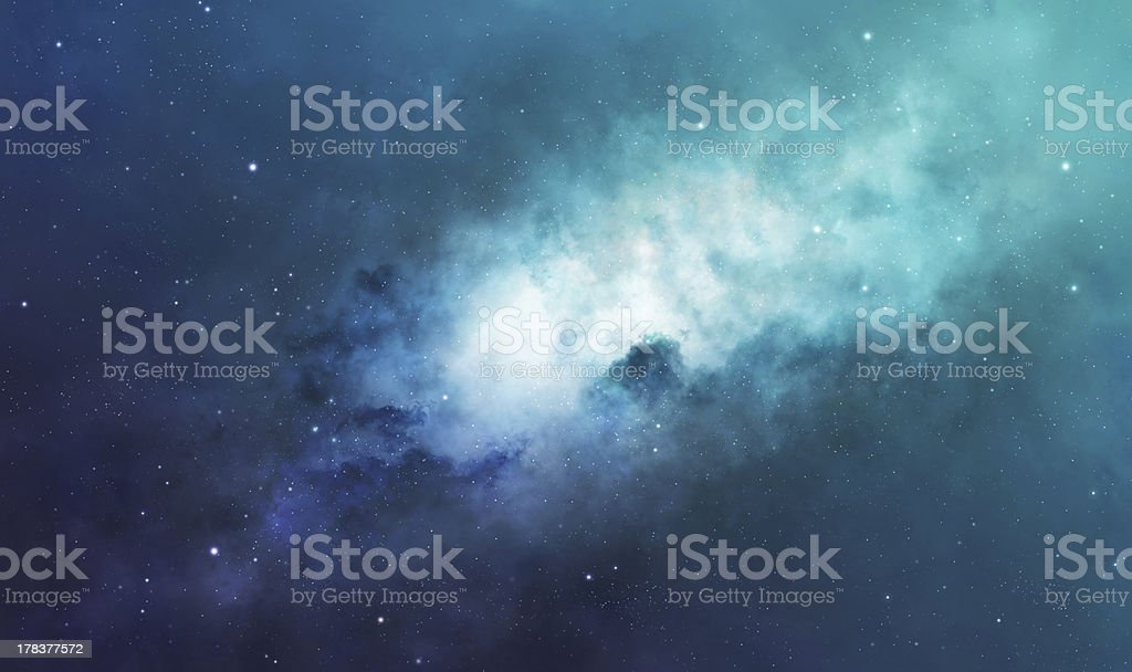 Blue and green nebula stock photo