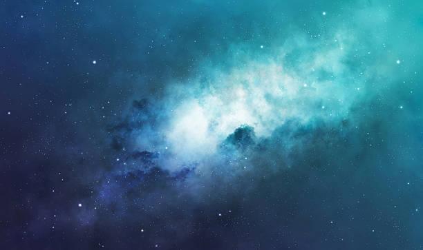 Blue and green nebula stock photo