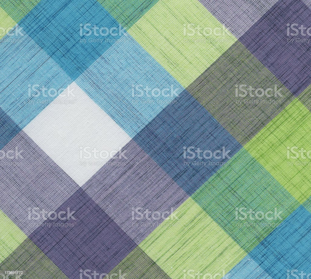 Blue And Green Plaid Tablecloth Royalty Free Stock Photo