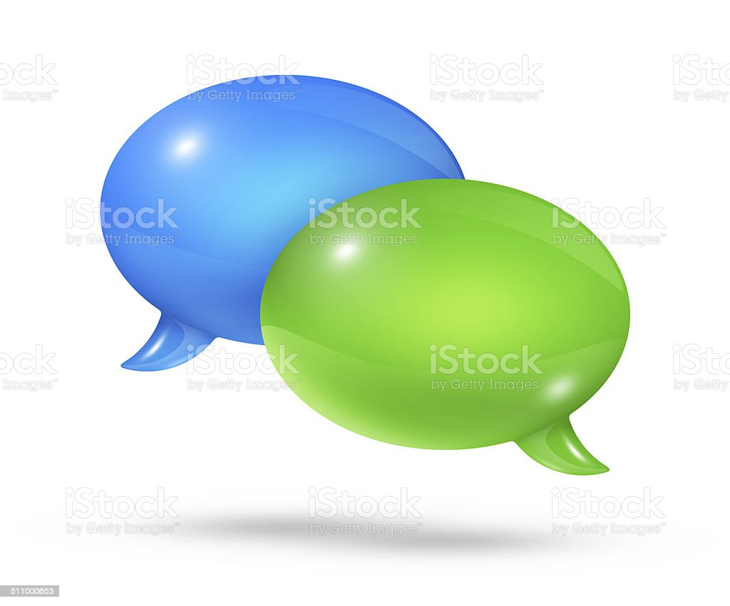 Blue and green speech bubbles stock photo