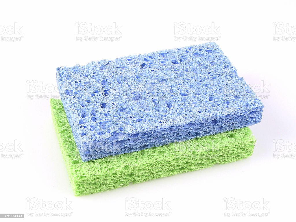 Blue and green sponge isolated on white! royalty-free stock photo