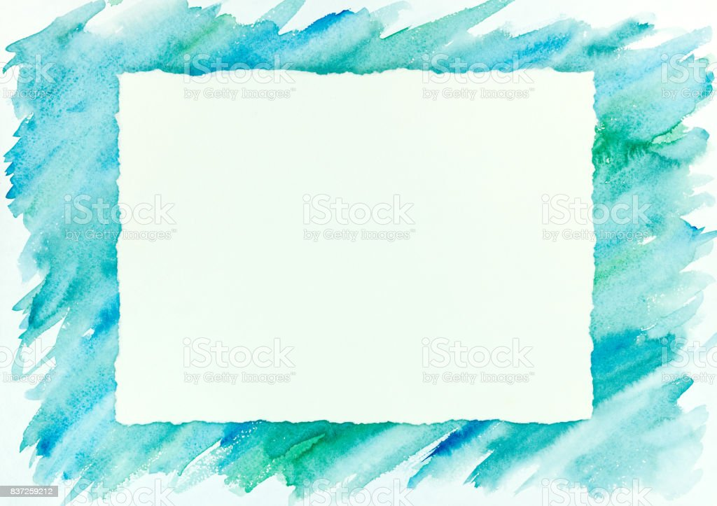 blue and green watercolor brush stroke frame background stock photo
