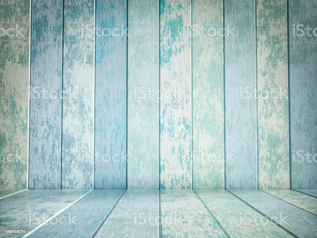 Blue and green wood flooring and wood wall stock photo