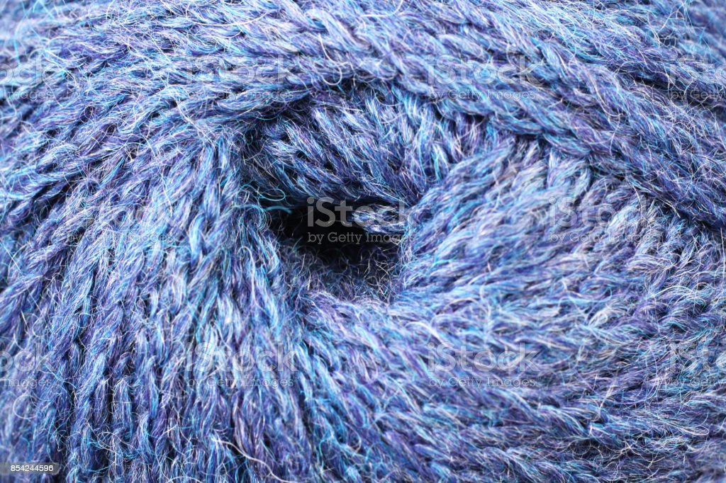 Blue And Green Yarn Texture Close Up stock photo