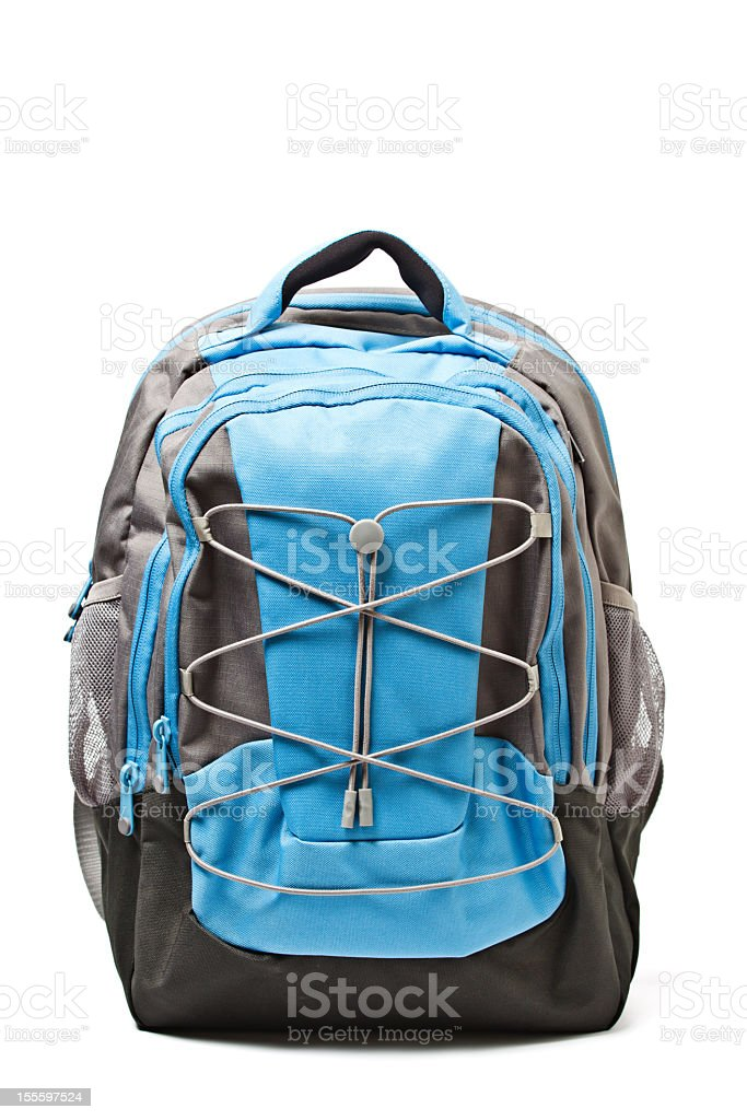 Blue and grey backpack on a white background stock photo