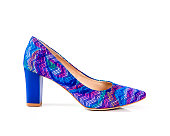Blue and magenta pattern  high heel women shoes isolated on white background