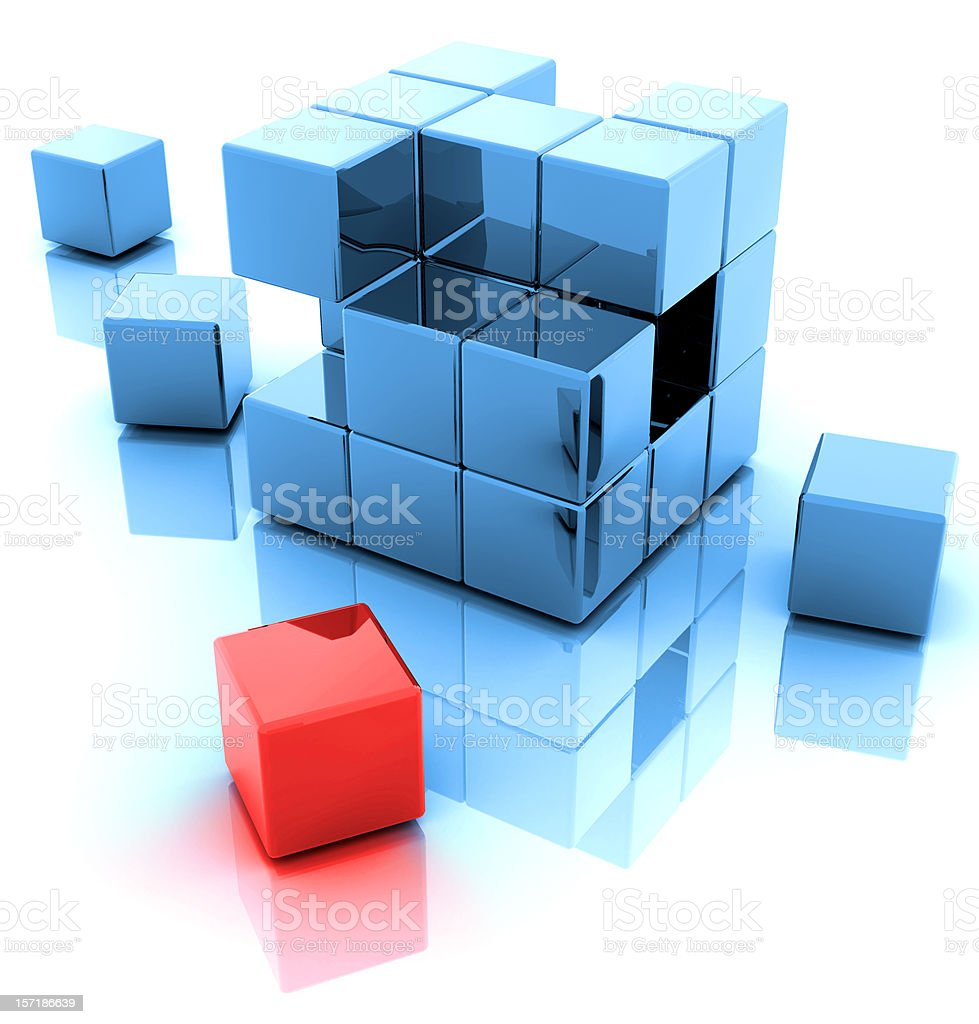 Blue and One Red 3D Blocks royalty-free stock photo