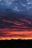 Vibrant blue orange and yellow Arizona sunset