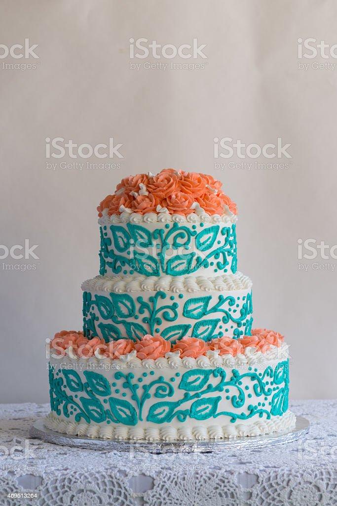 Blue and Orange Cake stock photo