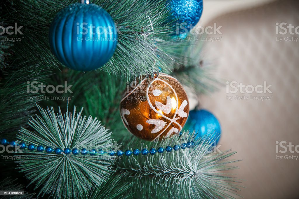 blue and orange christmas balls new year decoration royalty free stock photo