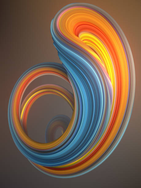 Blue and orange colored twisted shape. Computer generated abstract geometric 3D render illustration stock photo