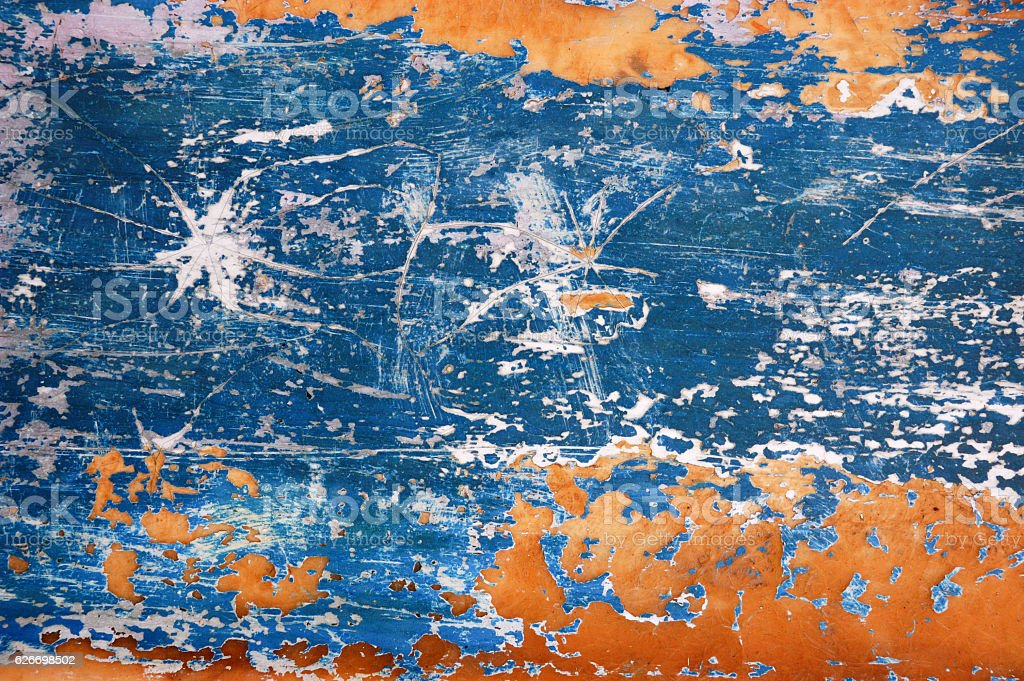 Blue and Orange Distressed Metal Background Texture stock photo