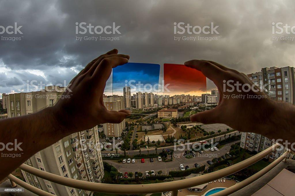 Blue and Orange Filter stock photo