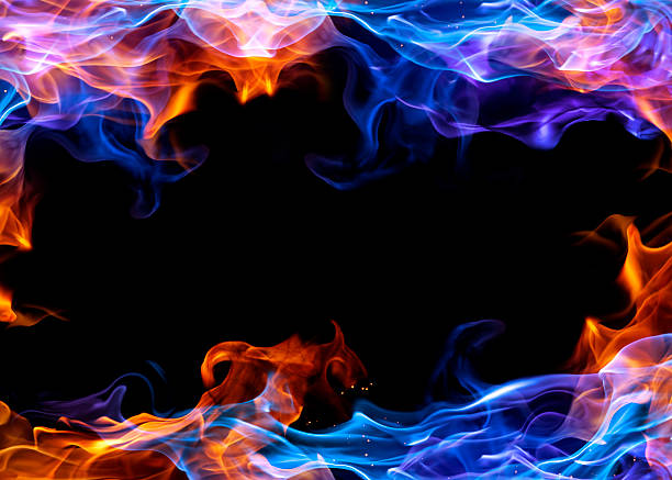 Blue and orange fire frame for photos stock photo