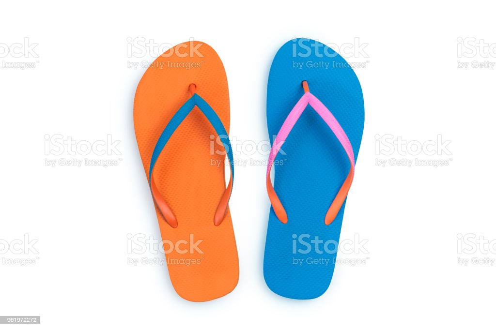 e13c5713db8 Blue and Orange flip flops isolated on white background. Top view - Stock  image .