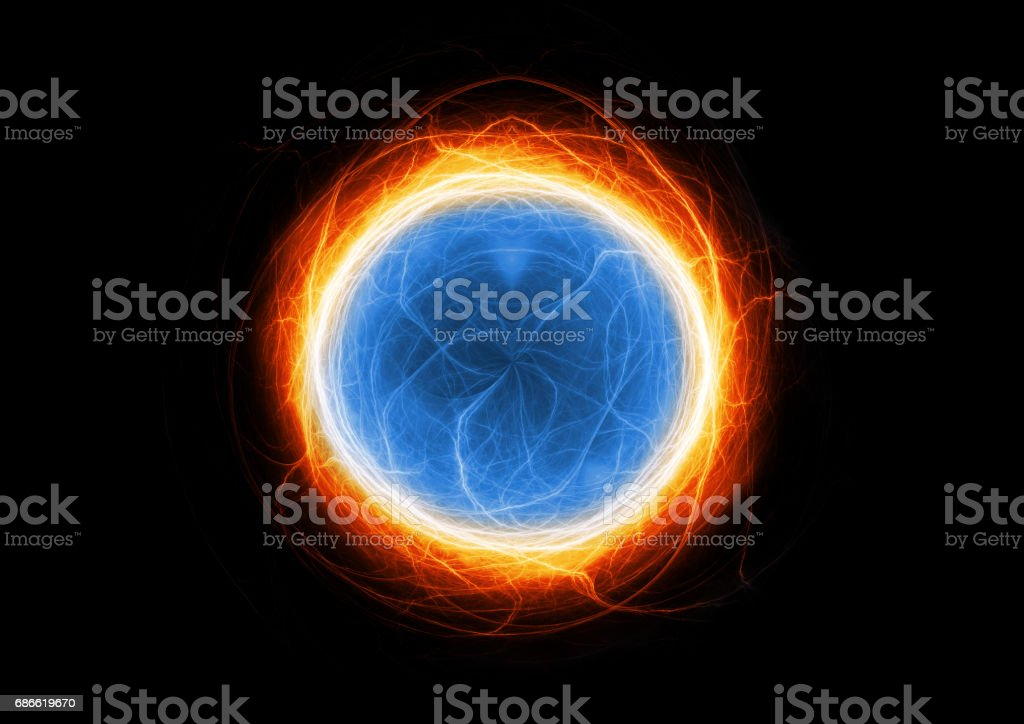 Blue and orange lightning, abstract electric background royalty-free stock photo