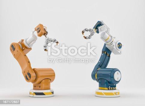 istock Blue and orange robotic arm tools 167172837