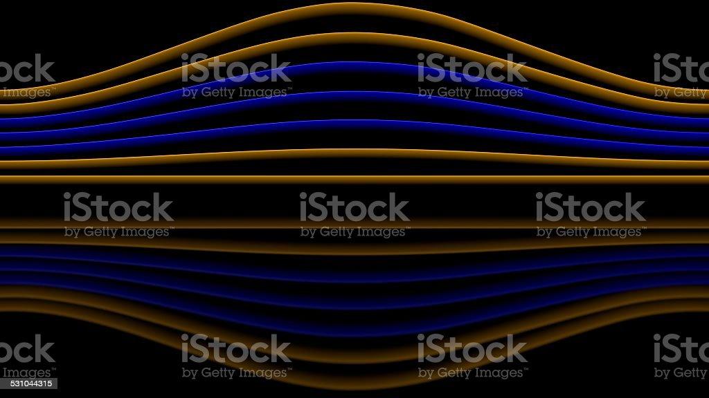 Blue and orange sinewaves stock photo