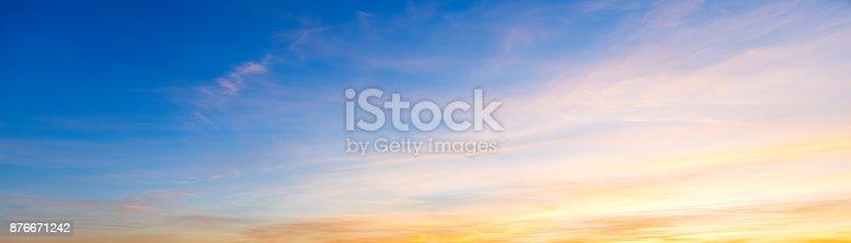 Blue and orange sky at sunset