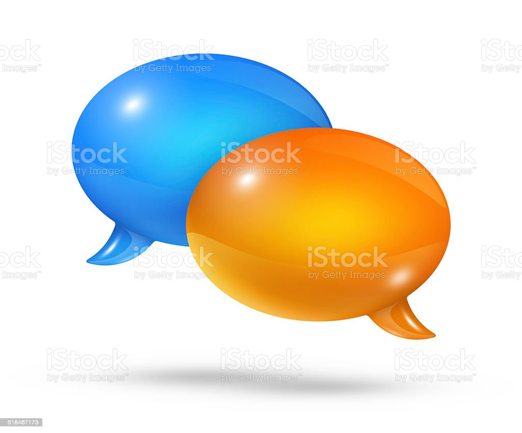 Blue and orange speech bubbles stock photo