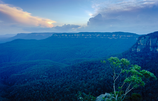 Blue and orange sunset over the Jamison Valley, Katoomba, Blue Mountains National Park