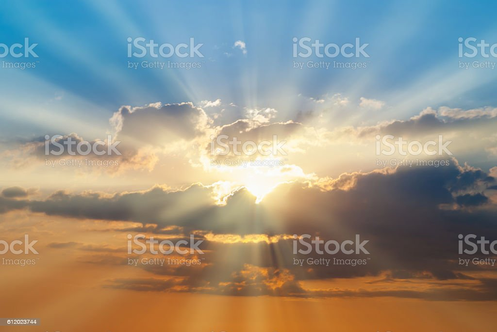 Blue and orange sunset sky royalty-free stock photo