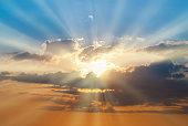 istock Blue and orange sunset sky 612023744