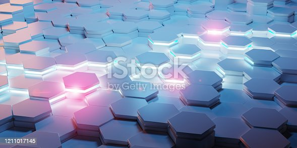 1003112152 istock photo Blue and pink abstract hexagons background pattern 3D rendering 1211017145